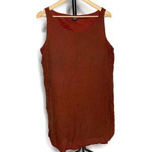 Eileen Fisher Burnt Orange Linen Sleeveless Dress